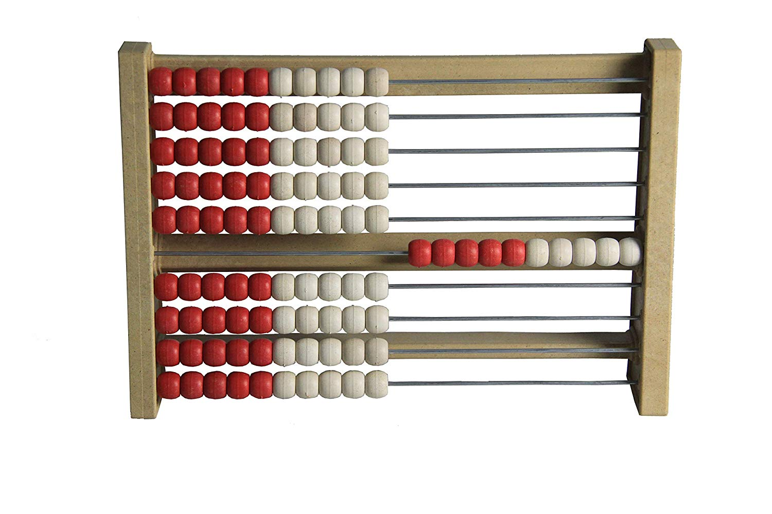 100 student´s abacus counting frame solid (RE-Wood ®) – red/white – made in Germany