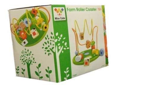 Allkindathings  Children Wooden Toy Farm Bead Frame Maze Colourful Shape Sorter Creative Kids