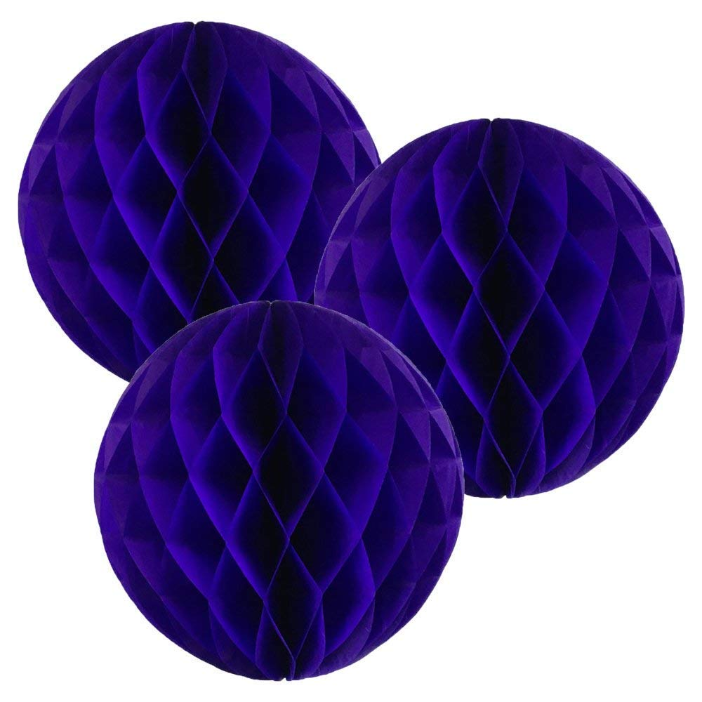 14″(35CM) Paper Honeycomb Balls (Pack of 3) Several Colours Available (Royal blue)