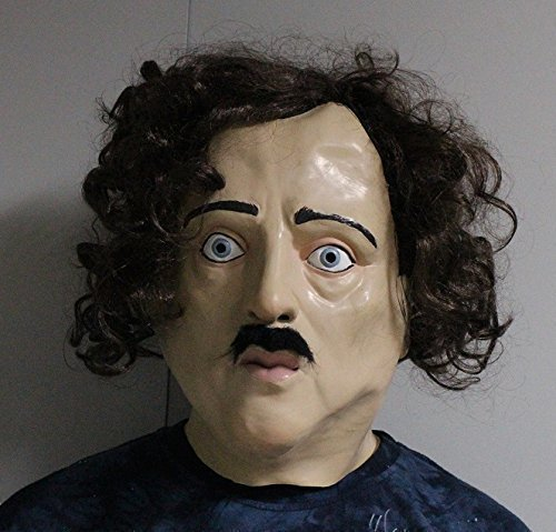 The Rubber Plantation TM 619219291538 Edgar Allan Poe Latex Mask Full Head Fancy Dress The Following Halloween Costume Accessory, Unisex-Adult, One Size