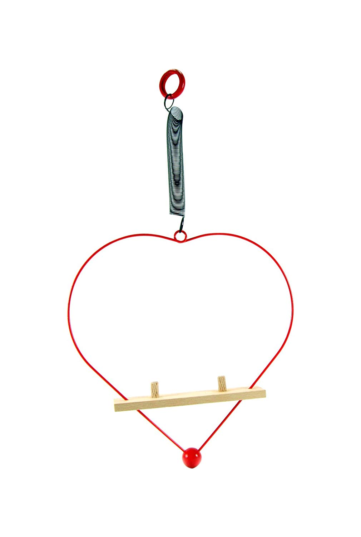 ABA (ABAX5) 40062 ABA Wooden Swing Duo Heart for Friendly Figure, 23 x 3 x 23.5 cm, Multi-Color