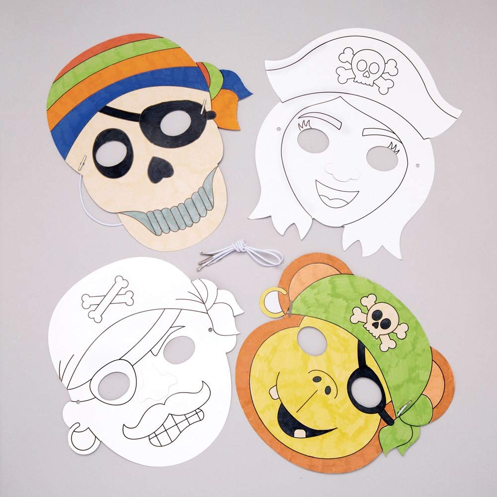 Baker Ross Pirate Color In Mask Kits (Pack of 8) Assorted Pirate Characters Masks for Kids to Decorate and Wear to Party's or Dressing Up
