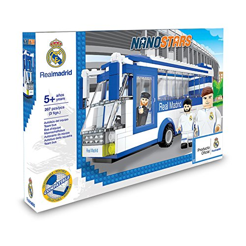 Nanostars 7209 Real Madrad Team Bus Brick Construction Set, Blue and White, 3 figuras, 267 piezas
