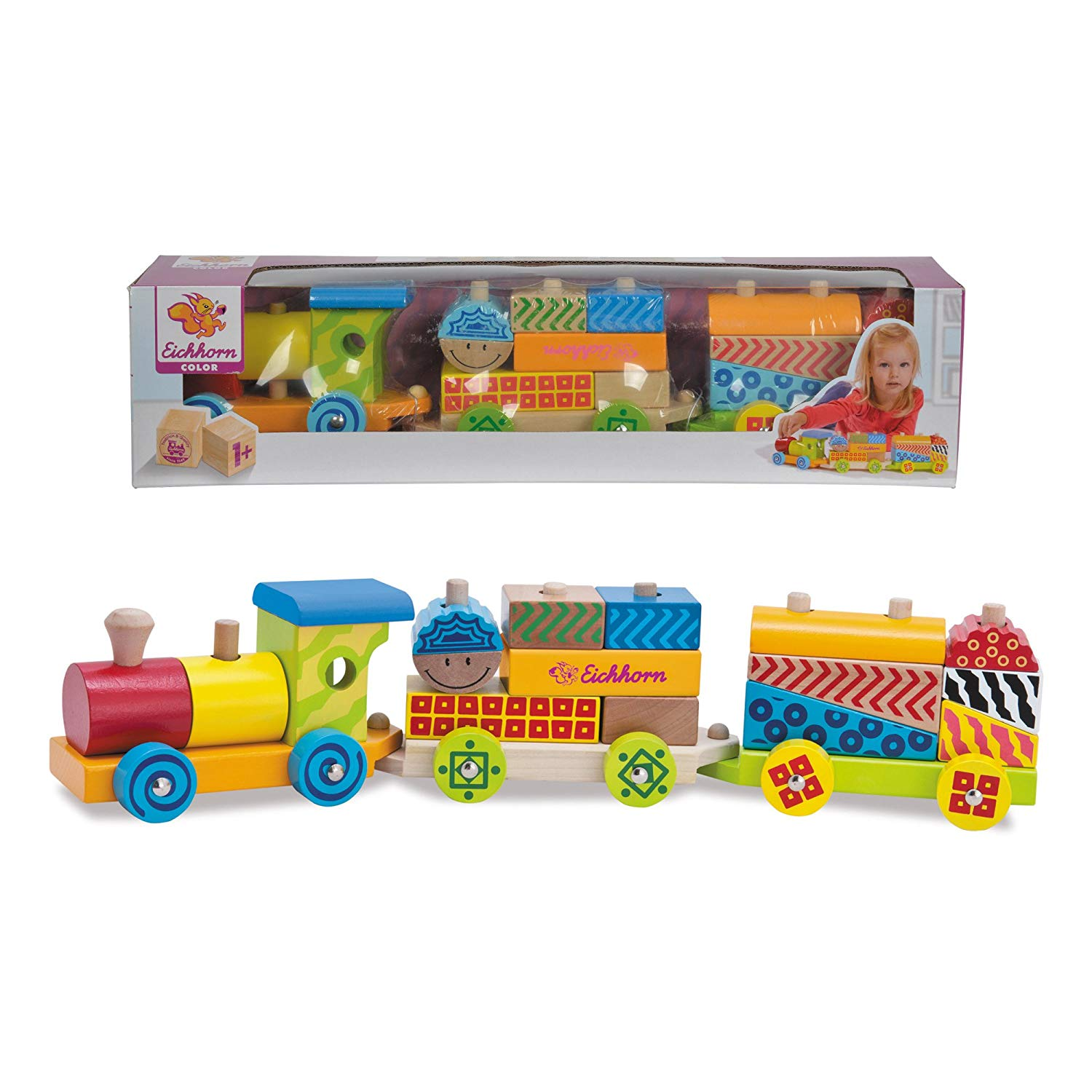 Eichhorn Wooden Train (18-Piece, Multi-Colour)