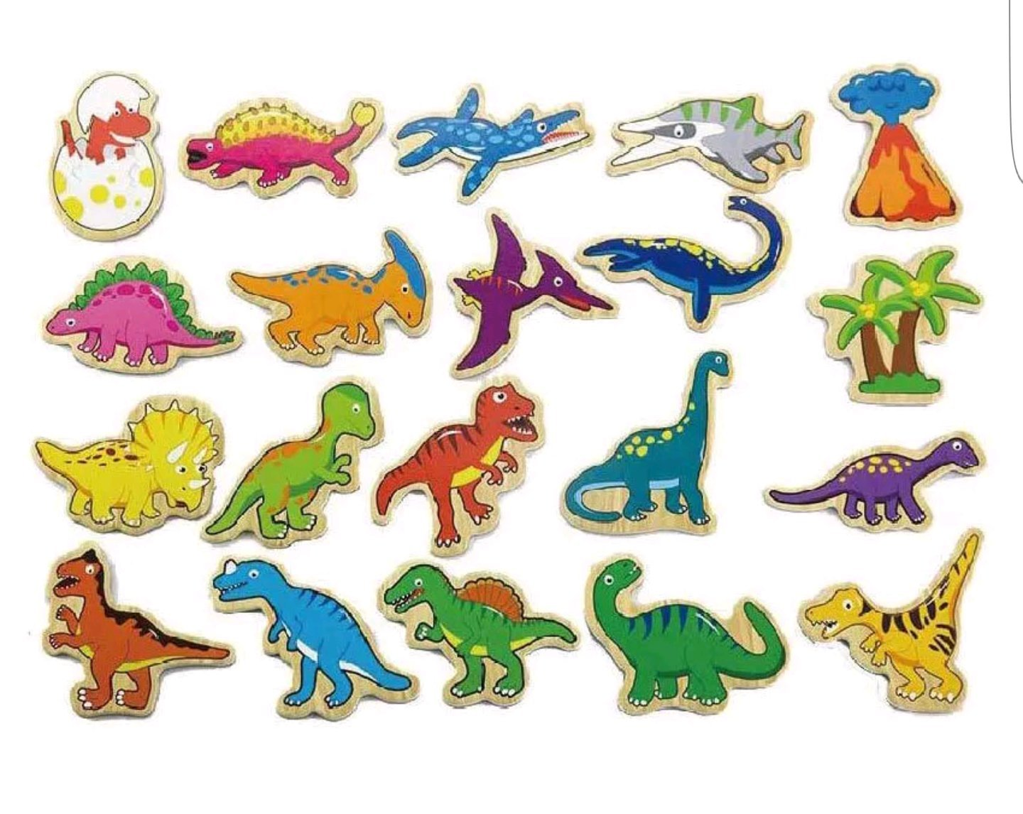 Viga Toys – 50289 – Wooden Magnetic Dinosaurs – 20 pieces