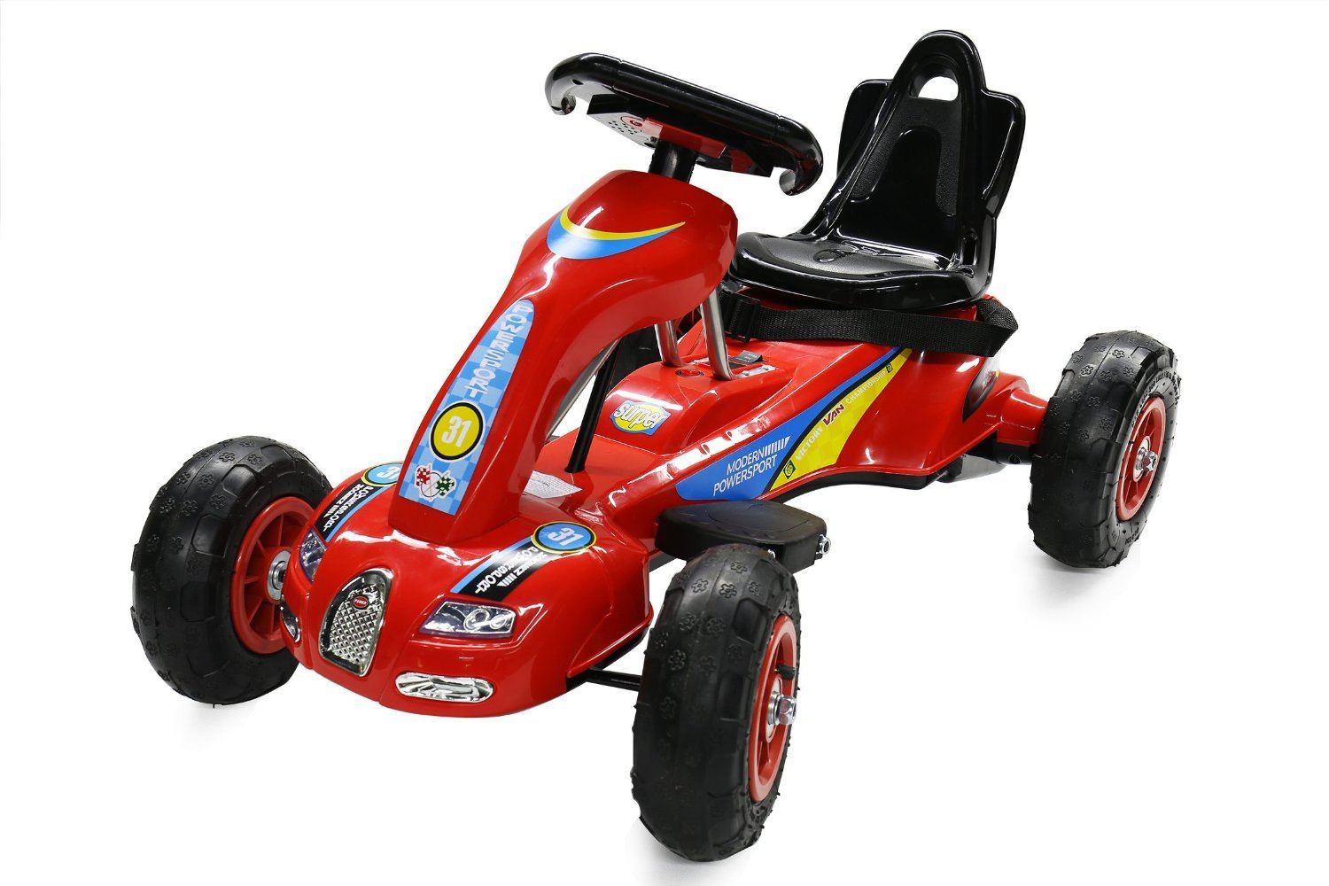 12W Battery Powered Ride on Go Kart for kids with Air Wheels LED Light Foot Brake (S1288 RED)