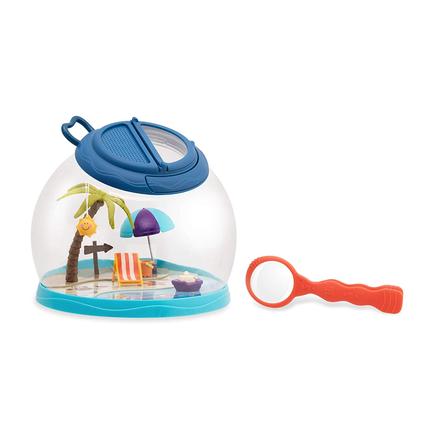 B toys by Battat – Tiki Retreat Bug Catcher Kit – 1 Bug Cage with Tweezers and Magnifying Glass – Bug toys for kids 4+