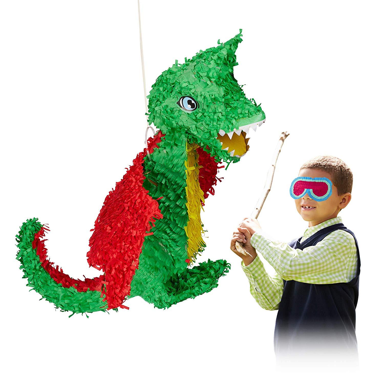 Relaxdays 10022572 Hanging Dragon Pinata, Children, Girls, Boys, Birthday, Fillable, Large Paper Piñata, Colourful