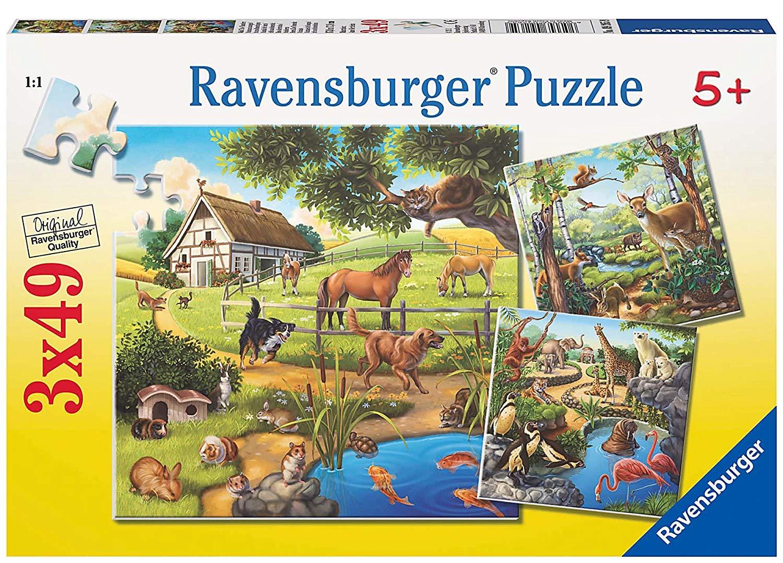 Ravensburger 09265 Puzzle – 3 x 49 Pieces – Animals