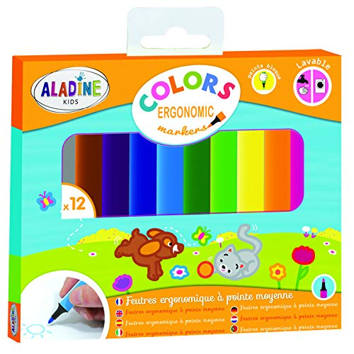 "Aladine 3042024 ""Colors Ergonomic"" Ergonomic Marker (12-Piece)"