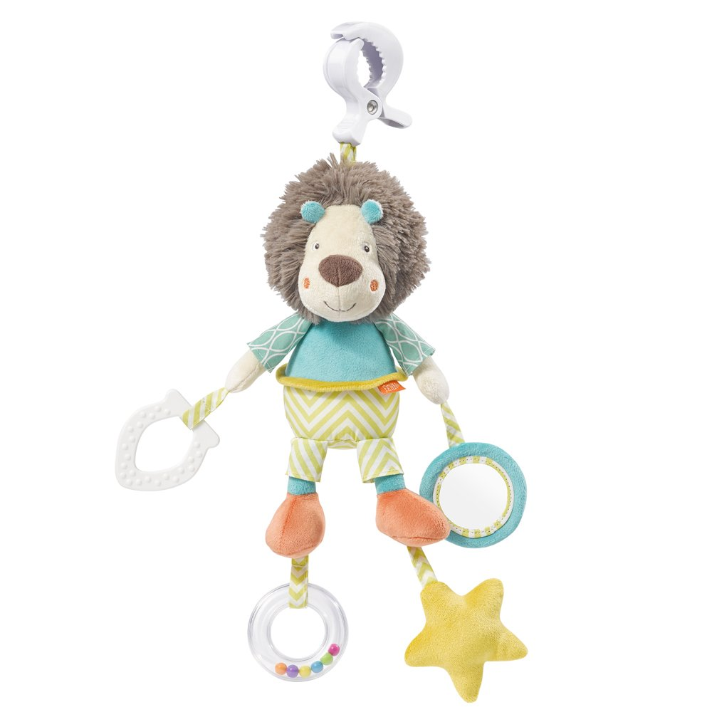 066043 Fehn Activity Toy Lion with Clutch, Funky Friends, Multi-Colour