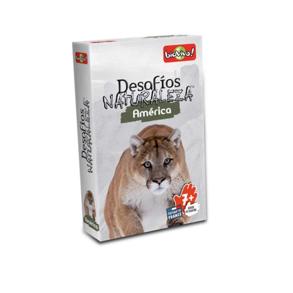 Bioviva 281096 Nature Challenges Animals-America Card Game, Language-Spanish, Multi-Color