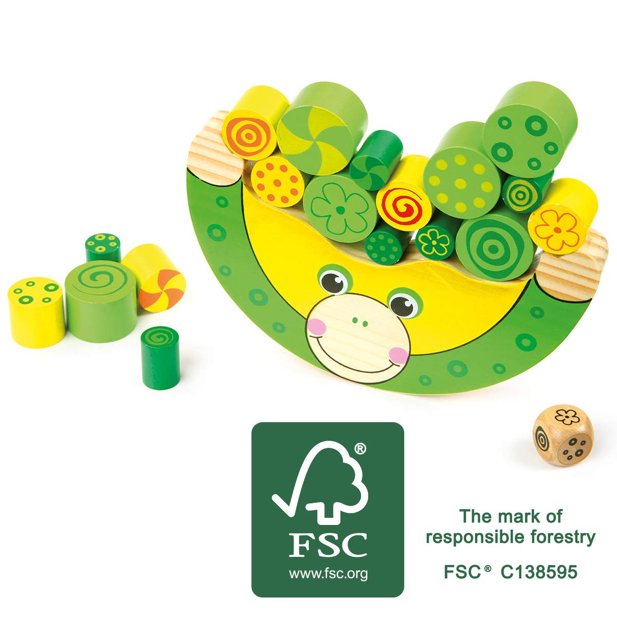 small foot 11058 wooden balancing game frog, educational game, motoric toy and balancing game in one, from 3 years on