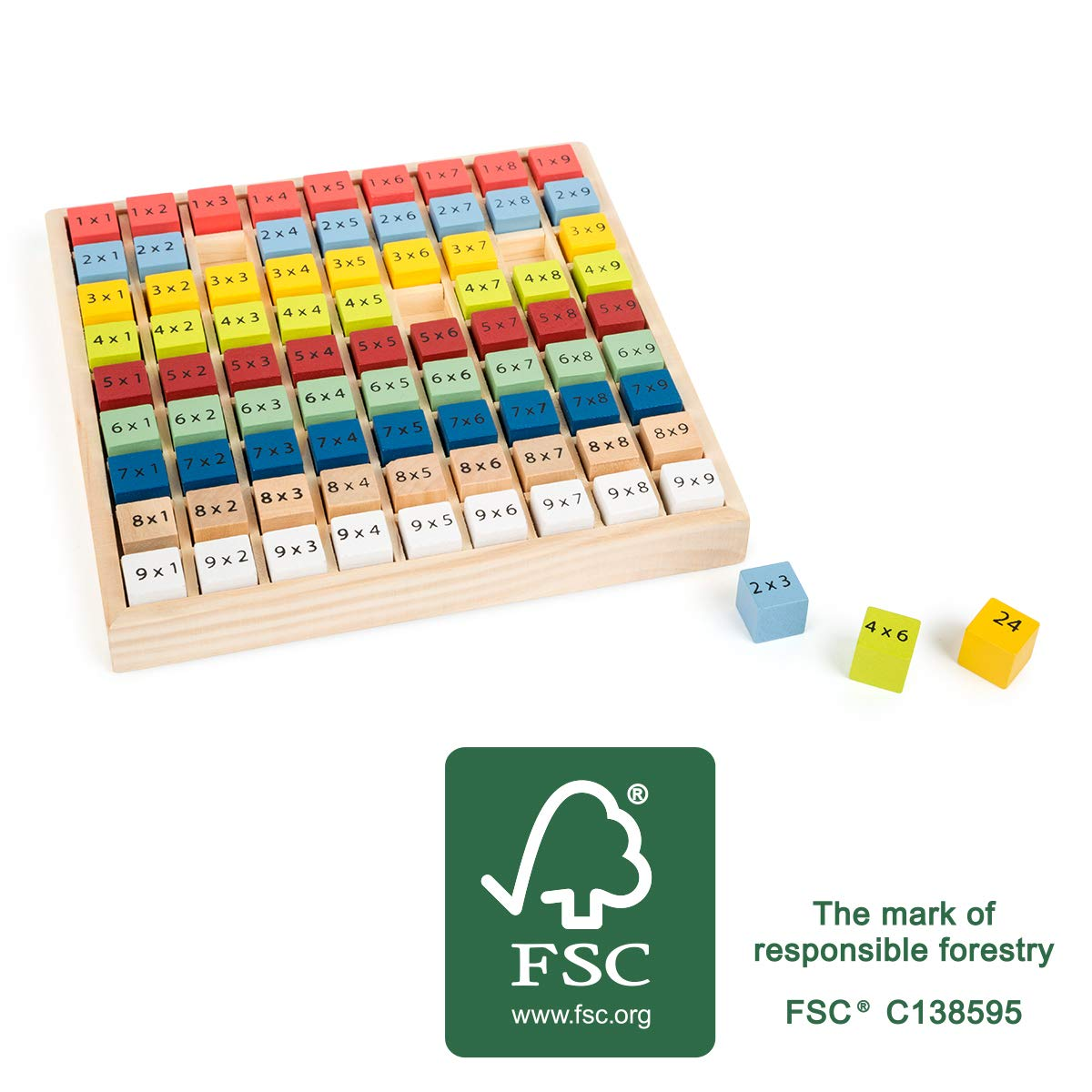 Small Foot 11163 Multiplication Educate Natural FSC 100%-Certified Wood, 1×1 Learning, Arithmetic, Numerical Table, Maths Toys, Multicolored