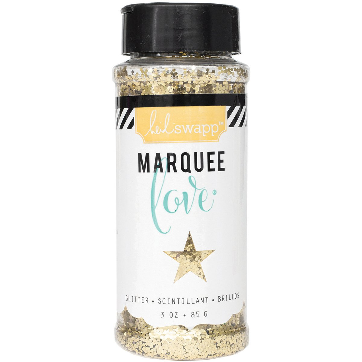 American Crafts Heidi Swapp Marquee Love Chunky Glitter 3 Ounces/Jar-Gold, Stripe, 3 OZ.