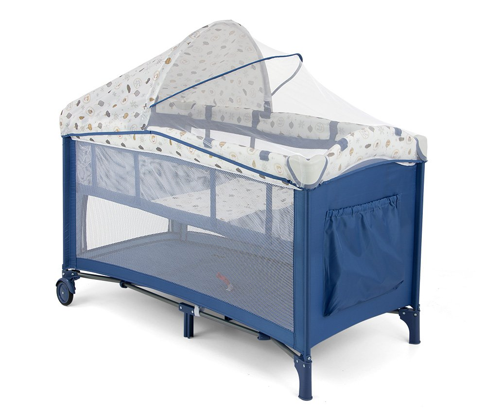 MILLY MALLY 22527 Mirage Deluxe Crib/Playpen, Blue/White