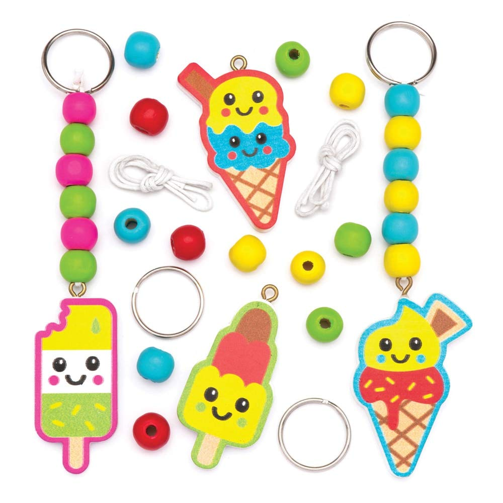Baker Ross Ice Cream Wooden Keyrings Kit (Pack of 4) AW563, For Kids to Assemble and Attach to Key Rings and Bags
