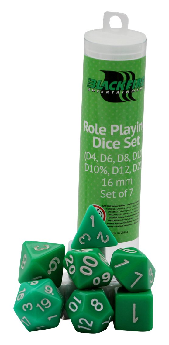 ADC Blackfire Entertainment 91498 Blackfire Dice-16mm Role Playing Set in Tube (7 Dice), Green