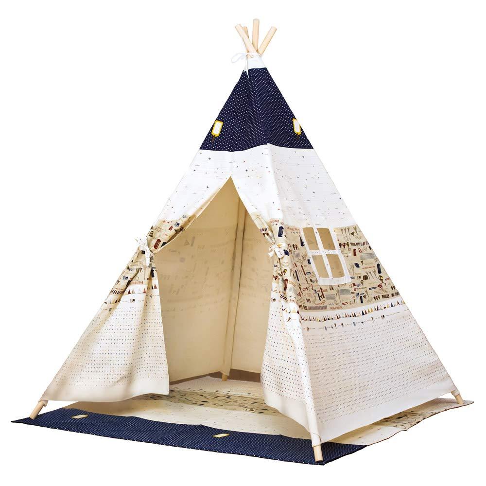 Bino 82820 Teepee Tent, Blue-Beige, Natural