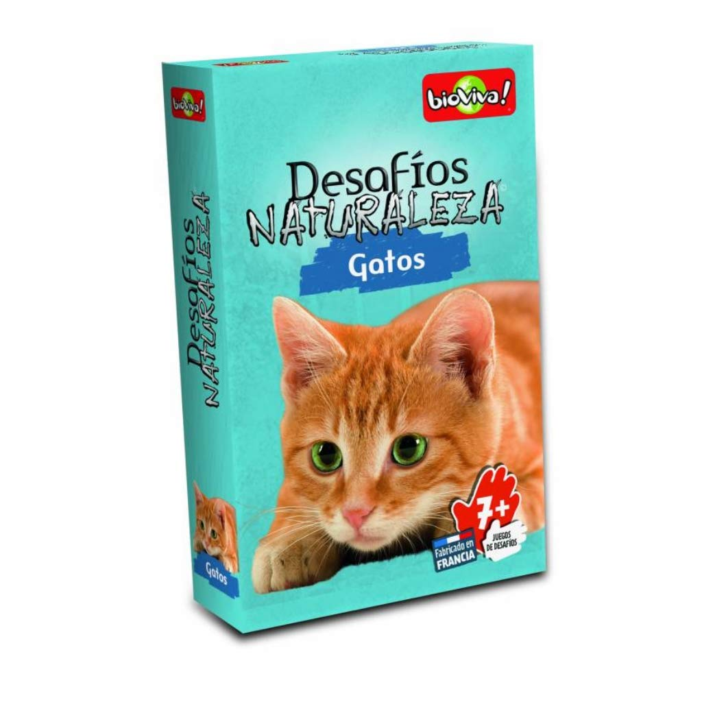 Bioviva 660112 Nature Challenges Animals-Cats Card Game, Language-Spanish, Multi-Color