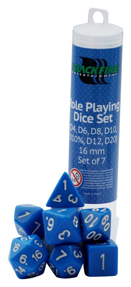 ADC Blackfire Entertainment 91499 Blackfire Dice-16mm Role Playing Set in Tube (7 Dice), Blue