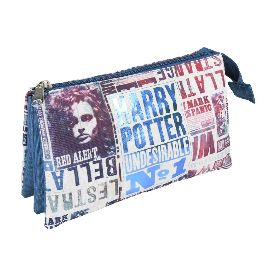 Artesania Cerda Estuche/portatodo Plano 3 Compartimentos Harry Potter Pack Pocket, 22 cm, Blue (Azul)