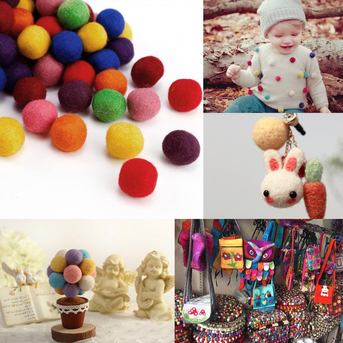 AKORD Wool Felt Ball, Mixed Colours, 2 cm