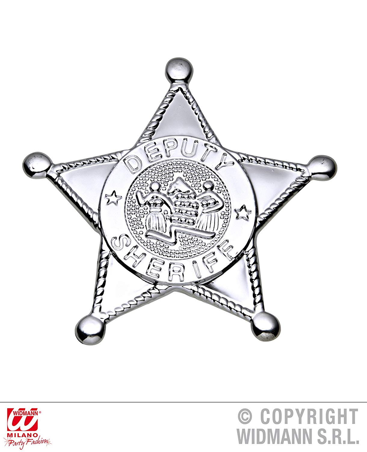 Silver Sheriff Star Badge Accessory for Wild West Cowboys & Indians Fancy Dress Up Costumes & Outfits