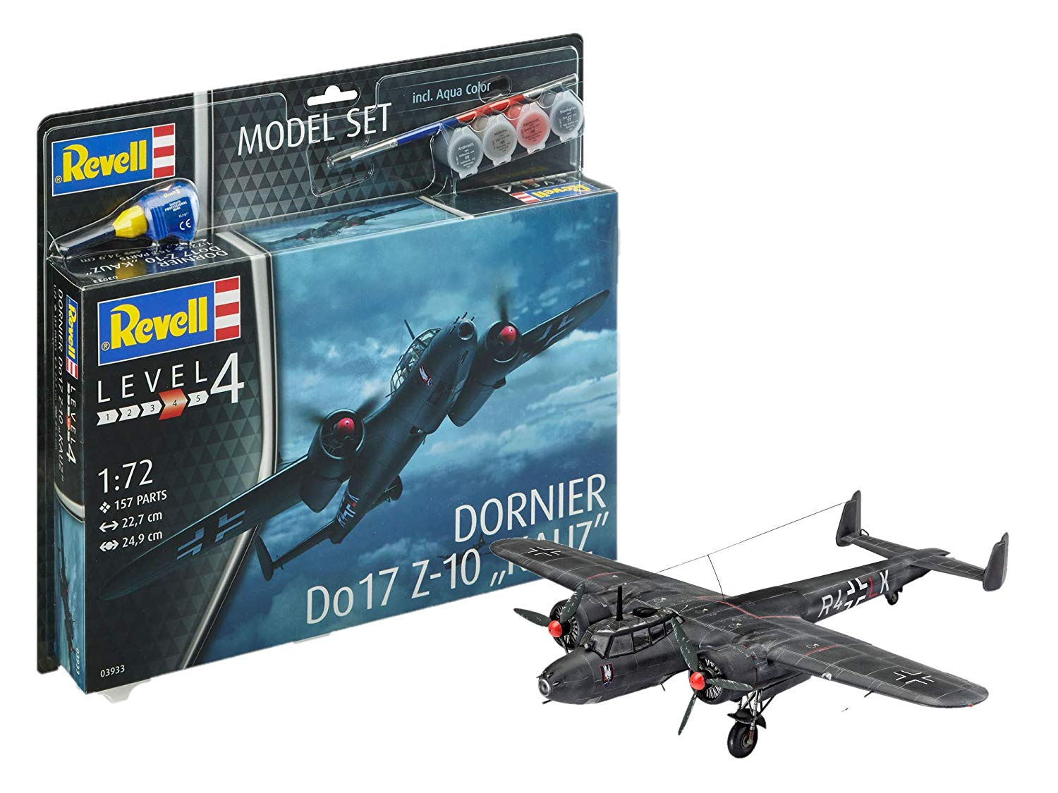 "63933 – Dornier Do17 Z-10 ""Kauz"" Model Set,with paints, glue and paintbrush, 1:72 Scale"
