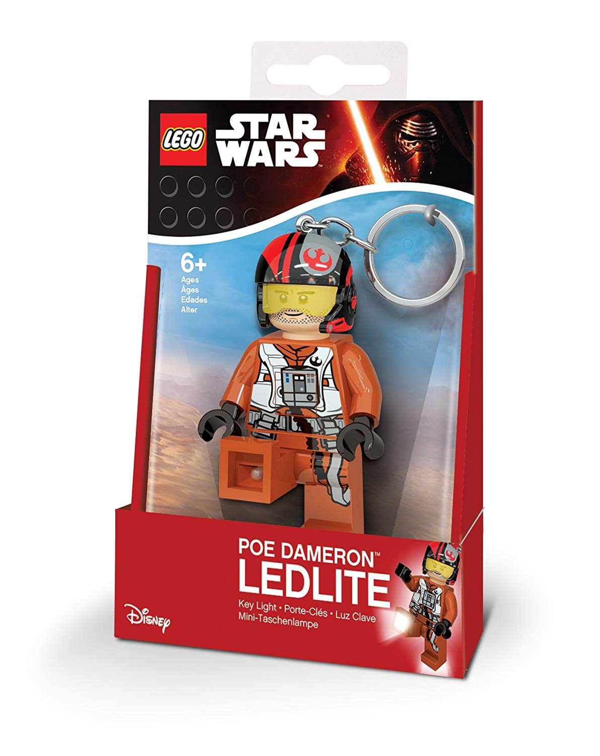 LEGO Star Wars PoE Dameron 31255 – Mini Torch And Key Ring with LED, 7.6 cm