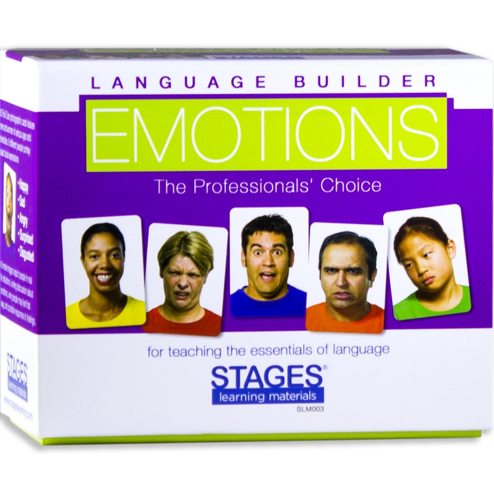 STAGES LEARNING MATERIALS SLM003 Language Builder Emotion Picture Expressions, Conversation, and Situation Photo Cards for Autism Education, ABA Therapy