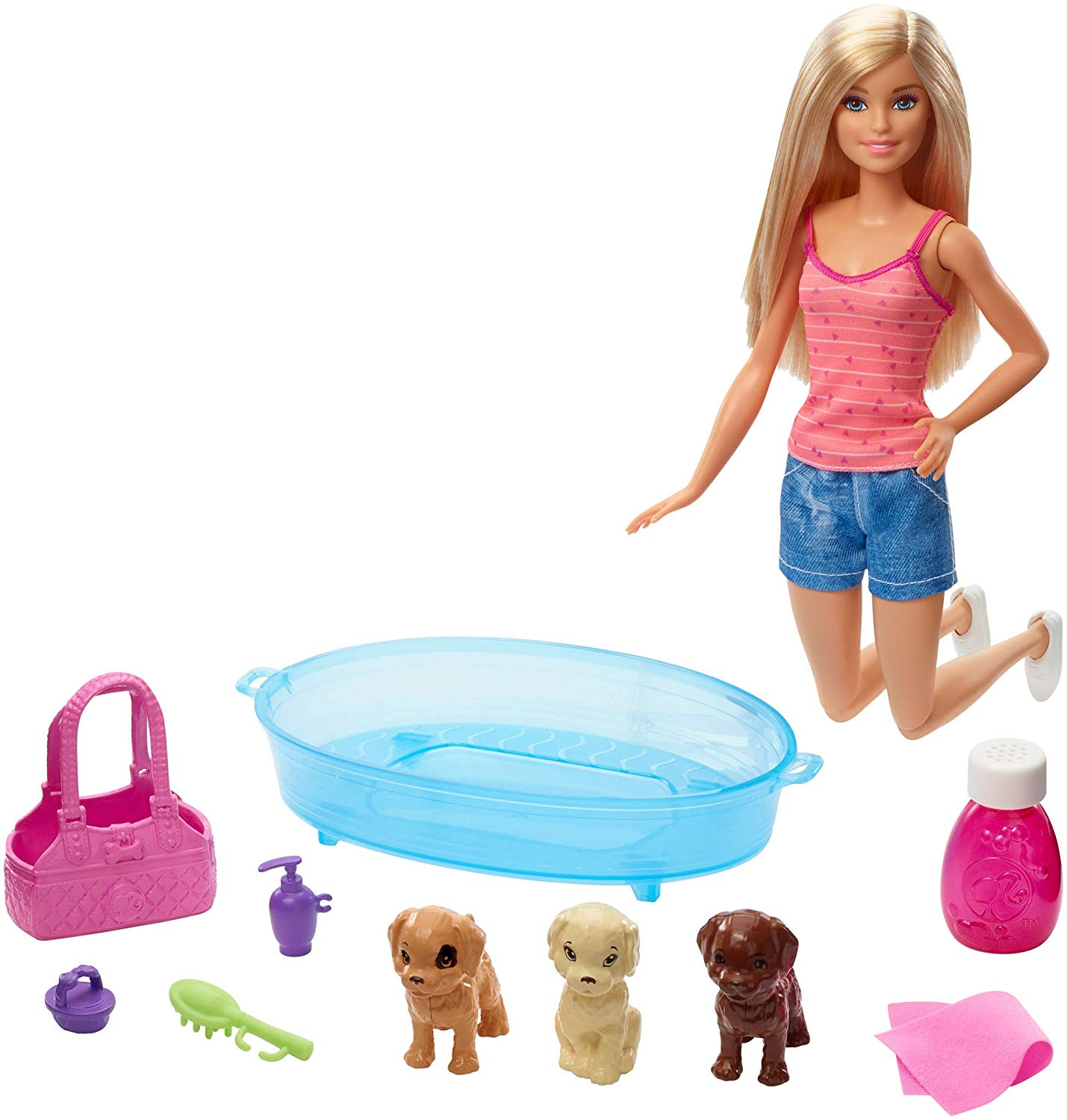 Barbie Doll GDJ37 Blonde and Playset with 3 Puppies, Bathtub and Accessories