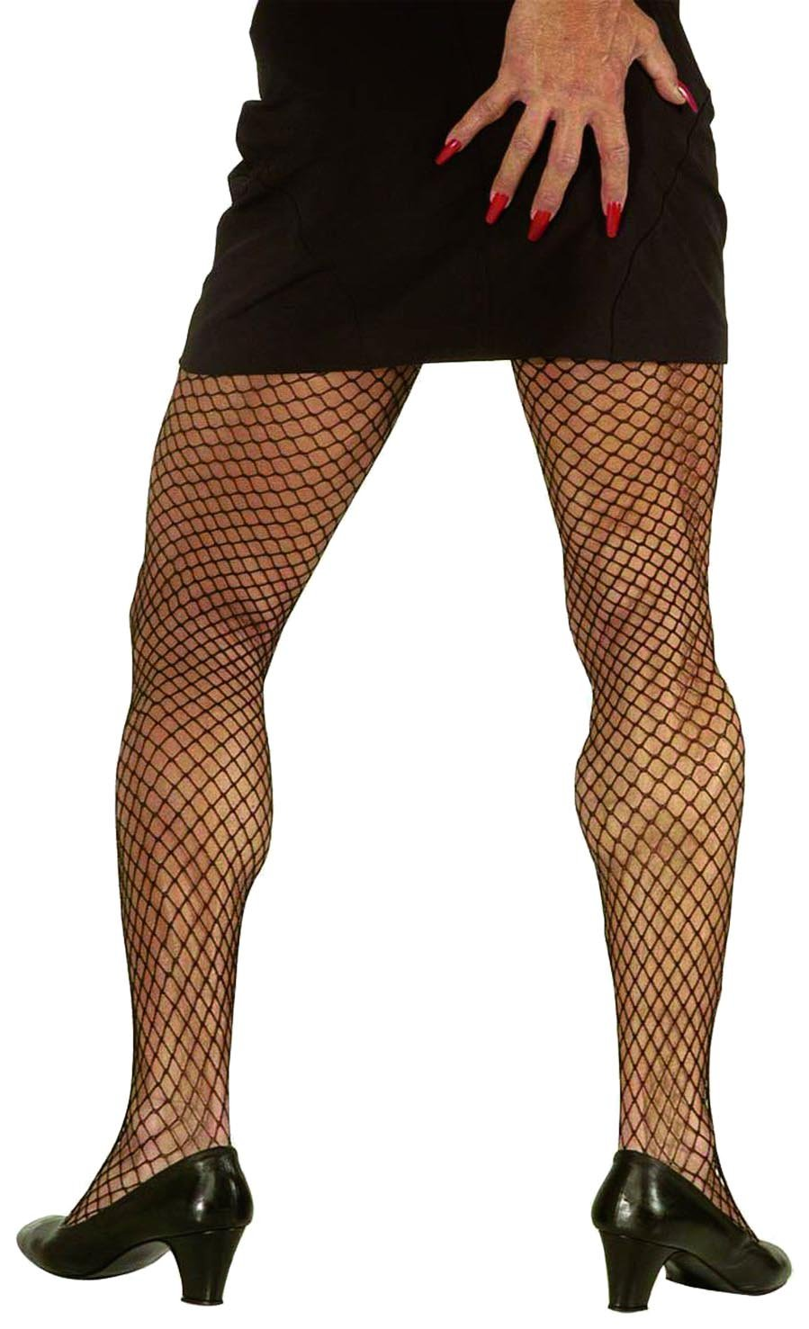 xL Black Wide Fishnet Pantyhose Accessory Extra Large for Lingerie Fancy Dress