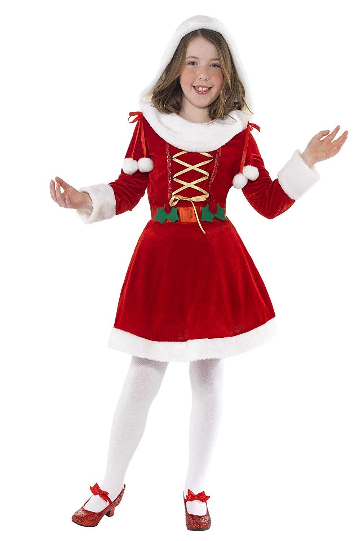 X Little Miss Santa Costume, Red And White medium 7-9 years