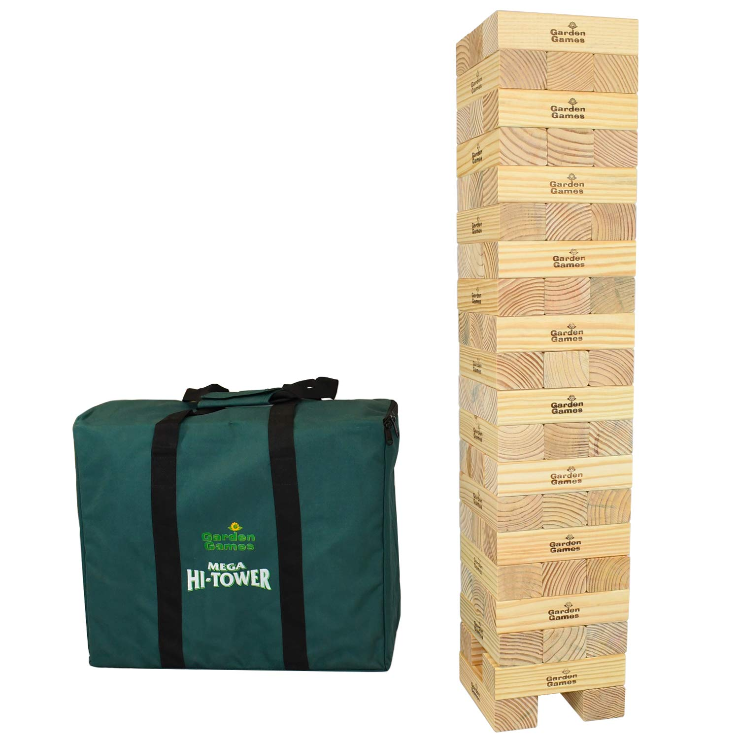 Garden Games Mega Hi-Tower in a Bag – Giant 0.9 Metres Builds Up To A  Maximum 2.3 Metres Wooden Tower Block Game