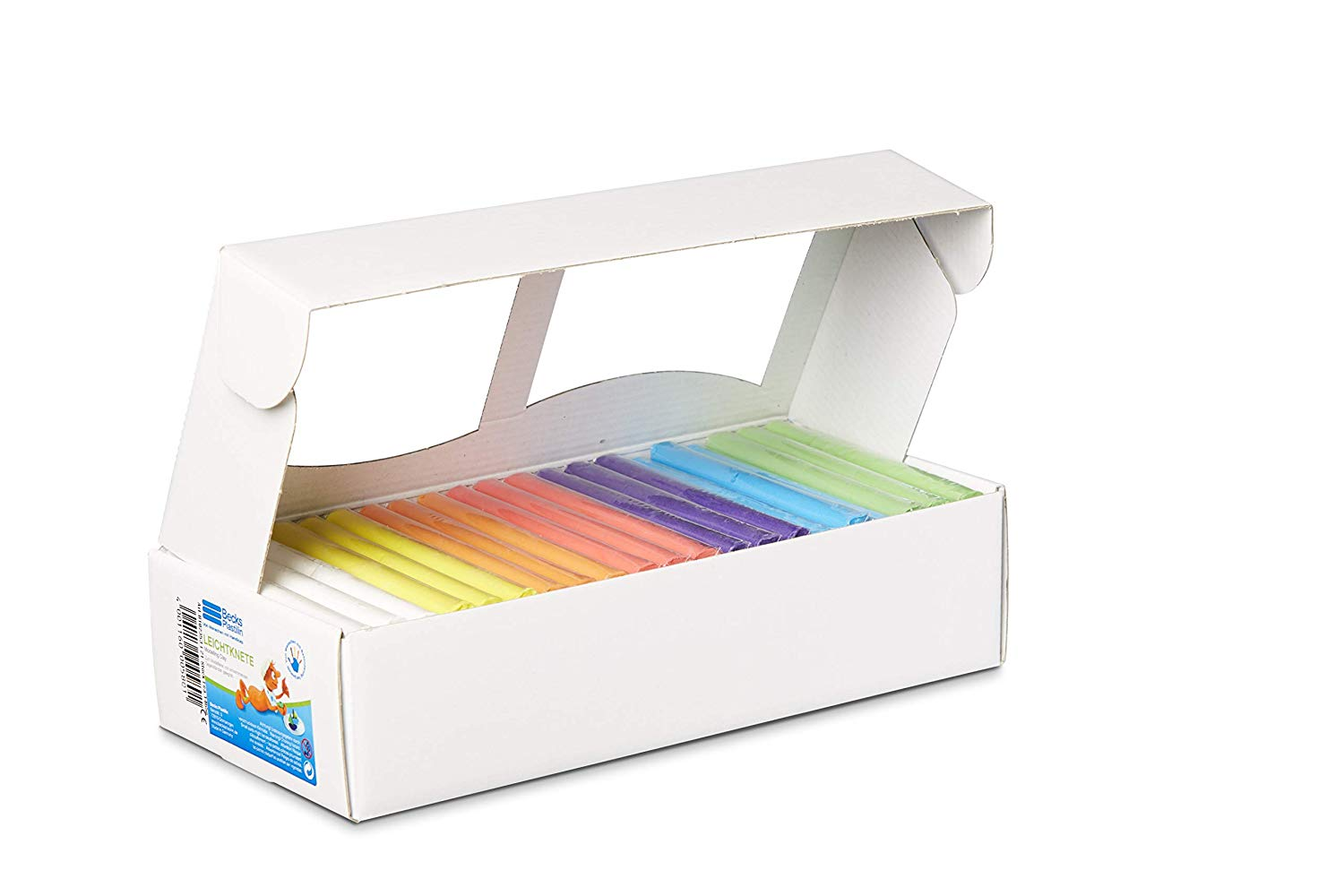 Becks Plastilin B102353 Swimming Clay 21 Pieces (65 g Each) Assorted Colours in A Display Box, Multi