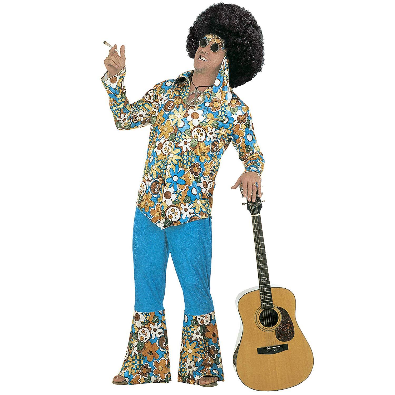 Xl Hippie Man Blue Velvet Fancy Dress Costume Mens (1960S)