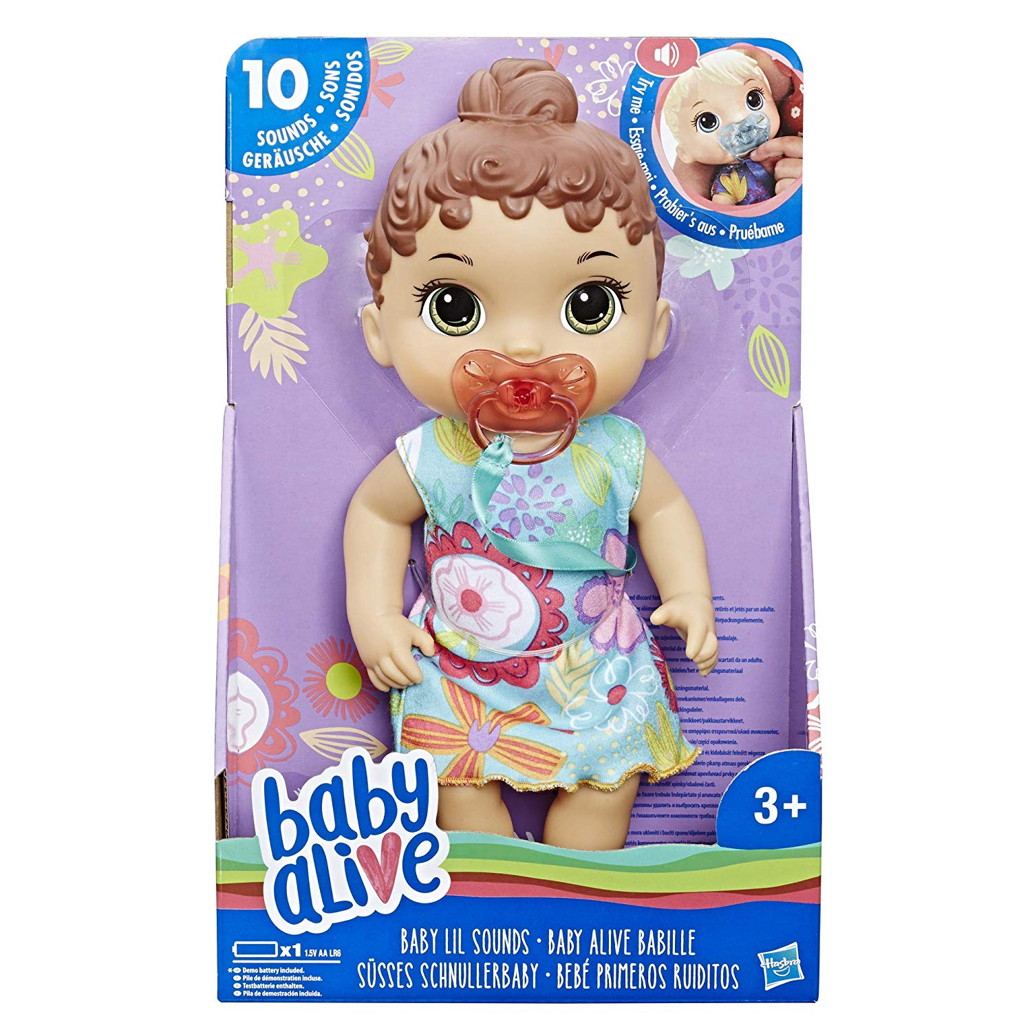 Baby Alive Baby Lil Sounds Interactive Brown Hair Baby Doll