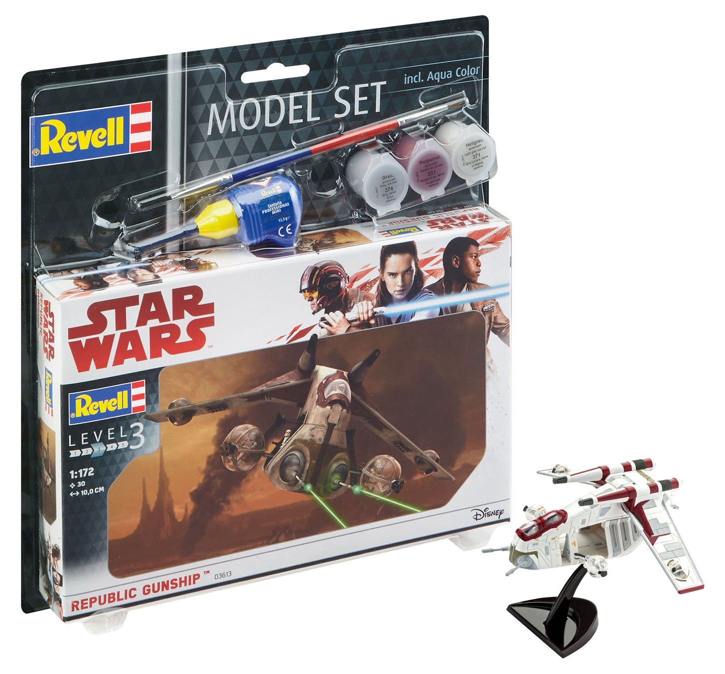 63613 – Star Wars Republic Gunship Model Set, with paints, glue and paintbrush