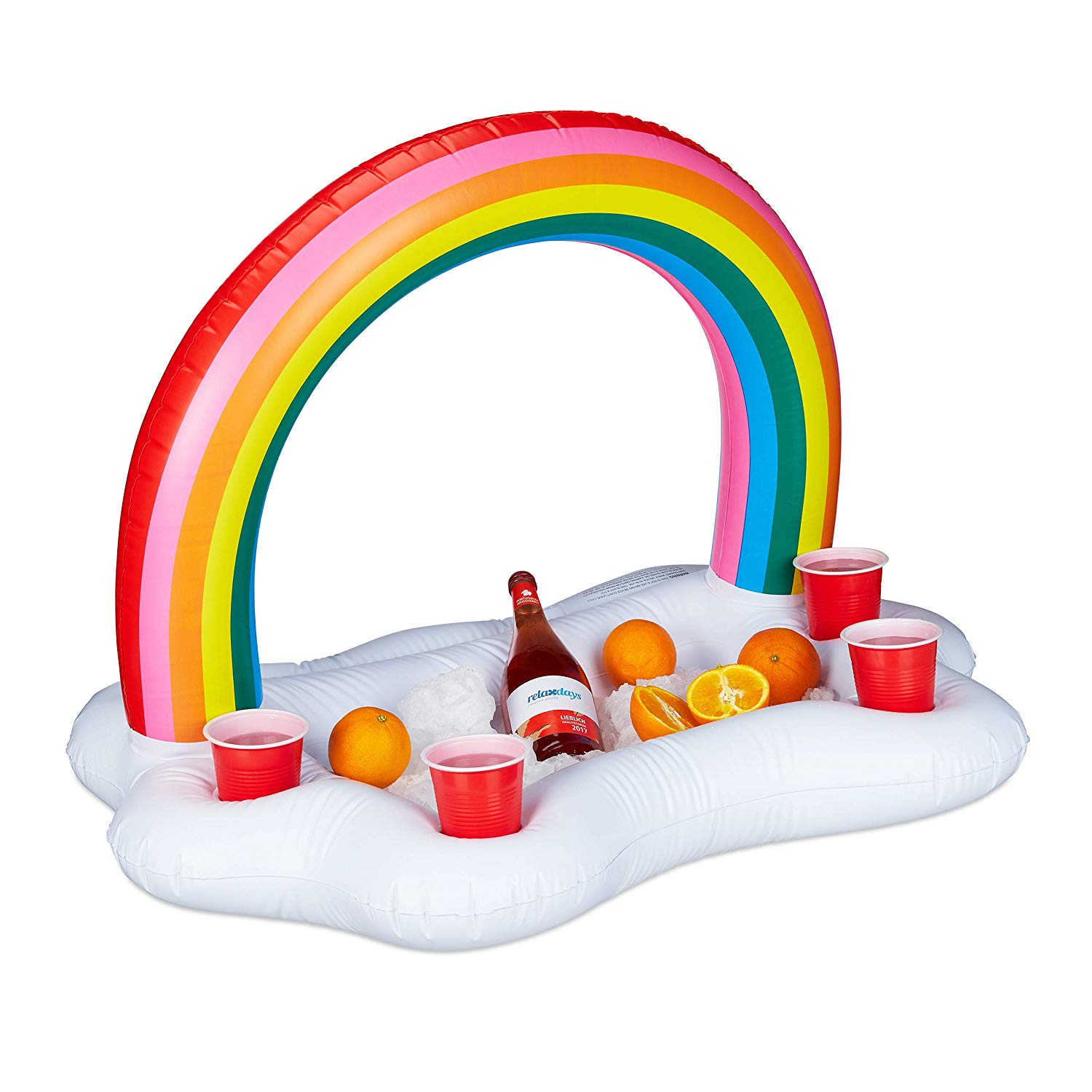 Relaxdays Cute Pool Drink Holder Float, Inflatable Rainbow-Cloud, 4x Beer Holder, Pool Party Decoration, 66 cm, White/Colourful