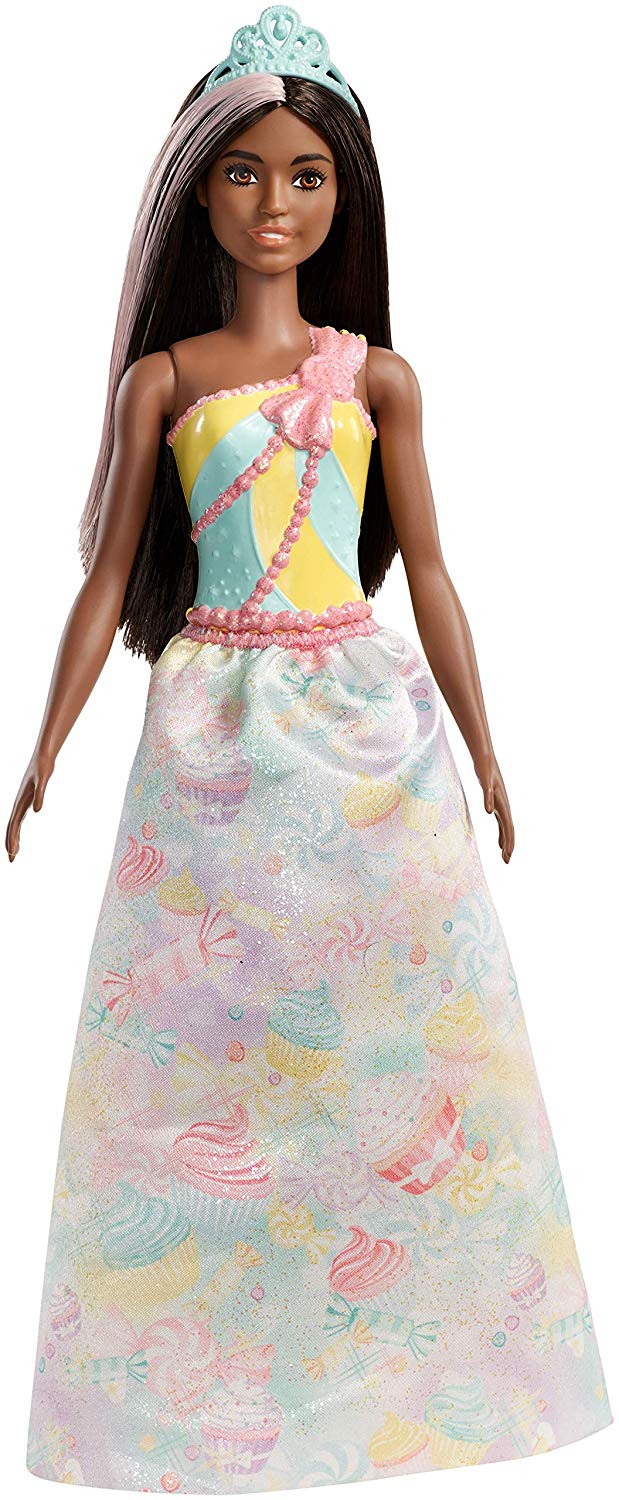 Barbie Dreamtopia Princess Doll, Approximately 12 Inch, Brunette with Pink Hairstreak, Wearing Colourful Candy-Inspired Outfit
