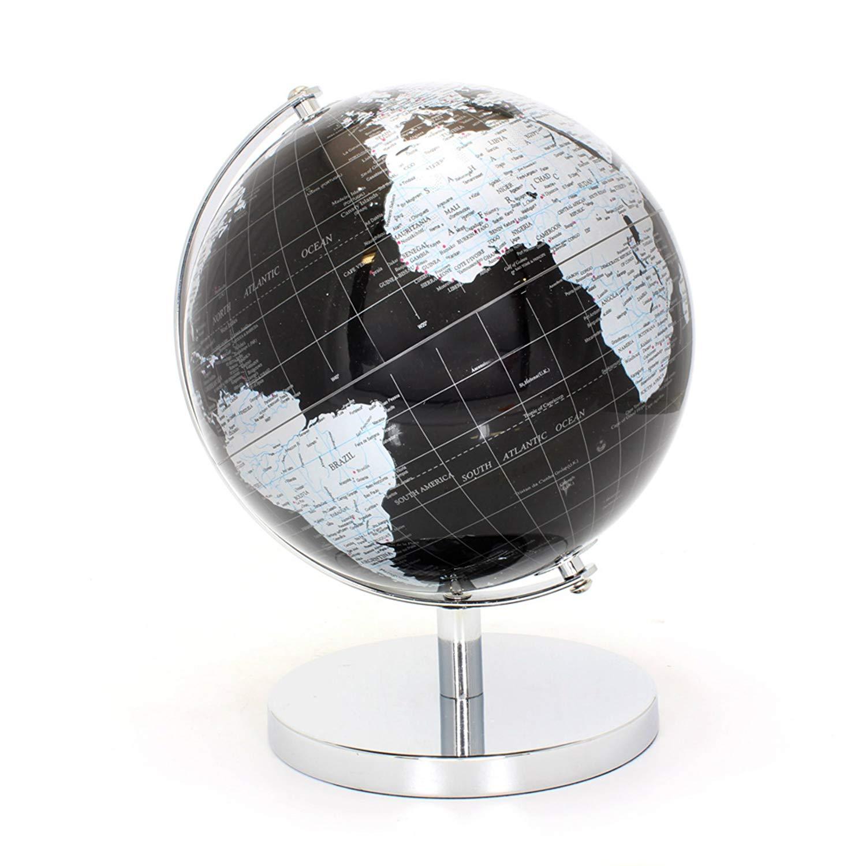 LEONARDO Black & Silver World Globe 27cm, Metal
