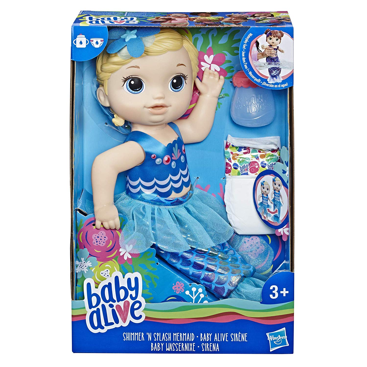 Baby Alive Shimmer 'N Splash Blonde Hair Mermaid Doll Set