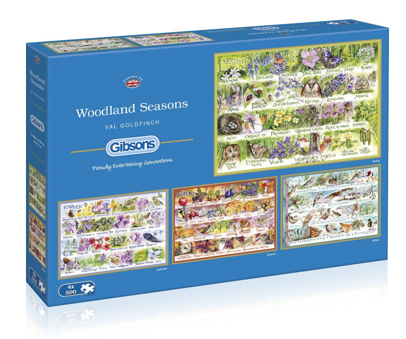 Gibsons Woodland Seasons Jigsaw Puzzle, 4×500 piece