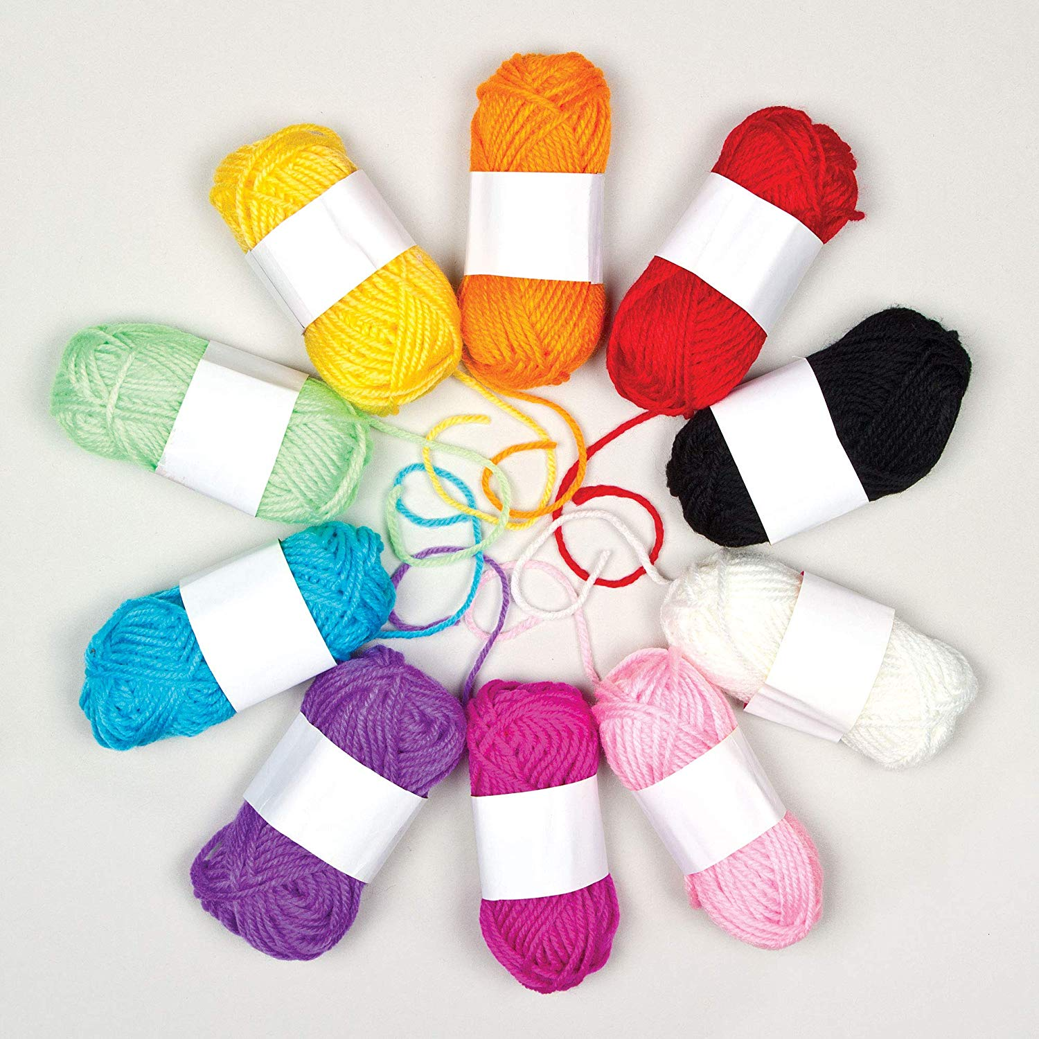 Baker Ross Coloured Wool (Pack Of 10) For Kids Arts and Crafts