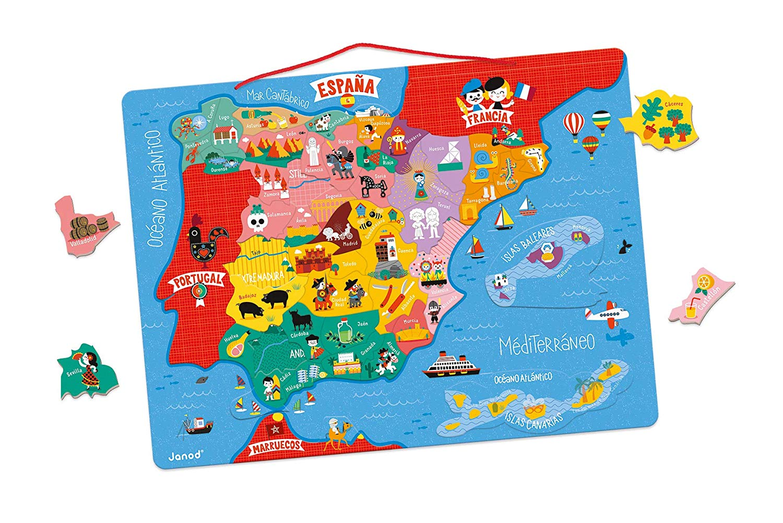 Janod J05478 Magnetic Spain Map 50 pcs (Wood), Multicolor