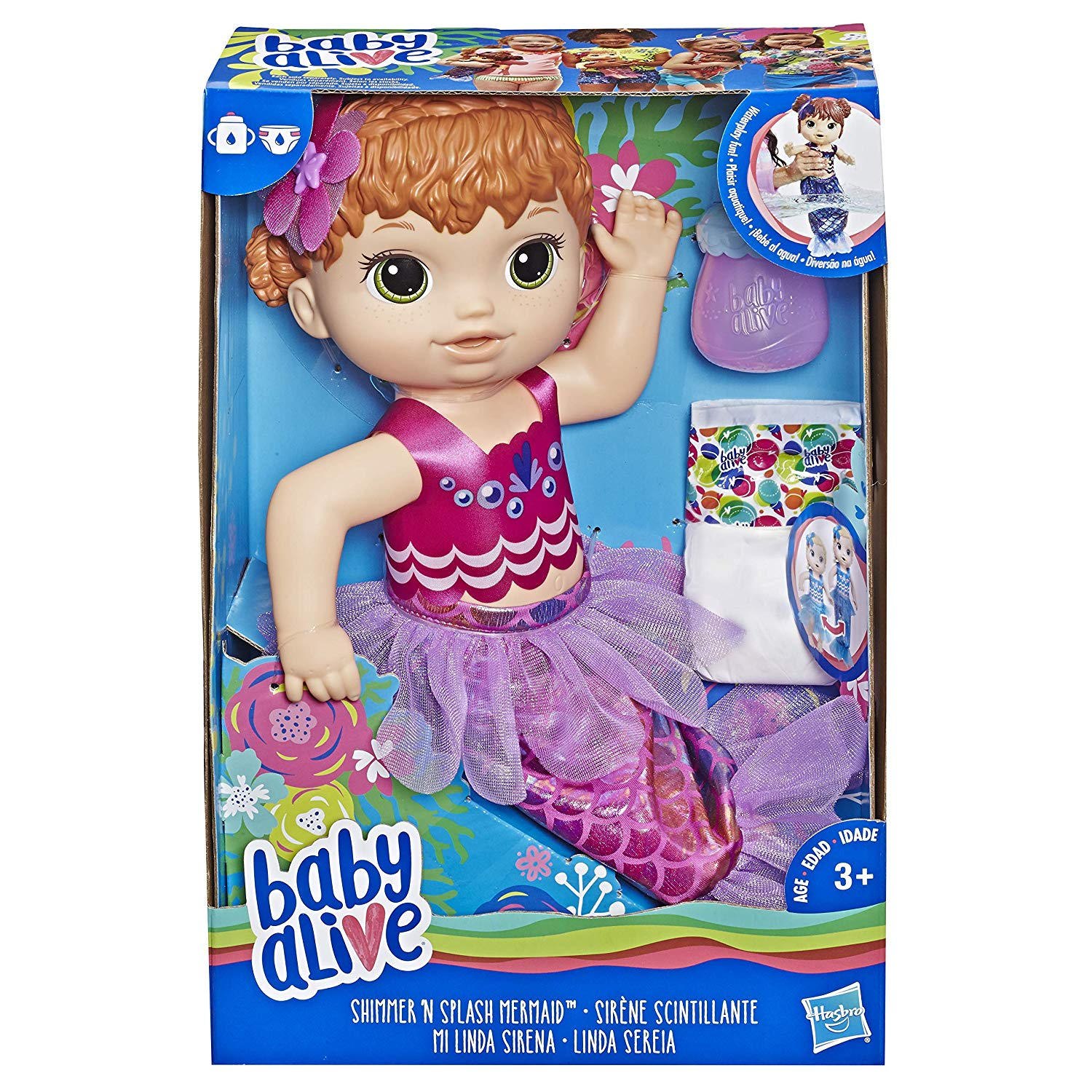 Baby Alive Shimmer 'N Splash Red Hair Mermaid Doll Set