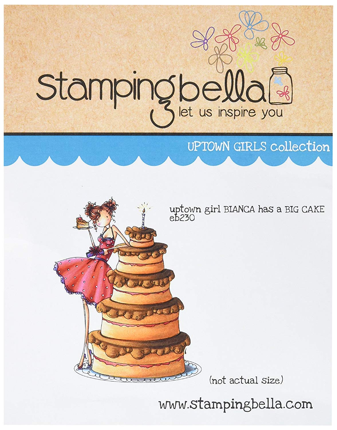 Stamping Bella Cling Rubber Stamp 6.5 x 4.5-inch, Uptown Girl Bianca Loves Her Big Cake, 6.5 x 4.5