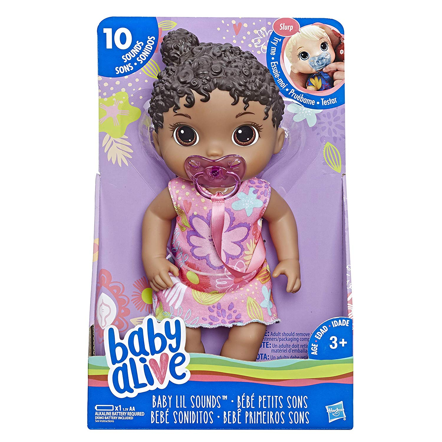 Baby Alive Baby Lil Sounds: Interactive Black Hair Baby Doll