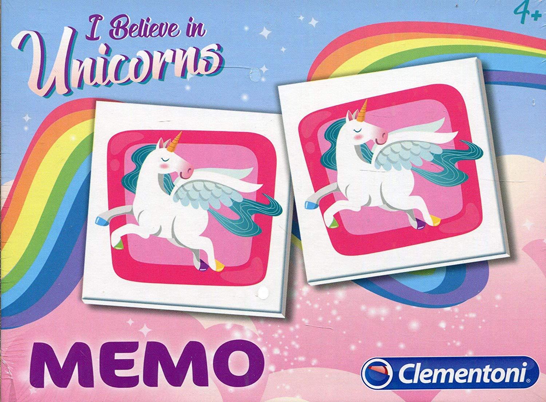 Clementoni–Memo Pocket Unicorn, 18032, multi-coloured